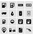 black gas station icon set vector image