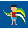 cartoon athletics player brazilian label vector image
