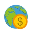 global planet with economy icon vector image