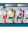 passenger woman character sitting in chair vector image
