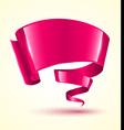 Pink ribbon banner twist vector image