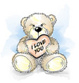 drawing teddy bear with heart vector image vector image