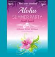 sunset beach sea poster hawaiian luau party vector image