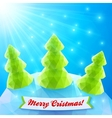 Three Christmas trees in polygonal style vector image