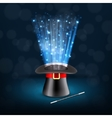 Conjurer hat with magical glow vector image