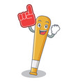 foam finger baseball bat character cartoon vector image