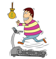 Man chasing money on treadmill vector image