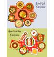 American and british cuisine icon for menu design vector image