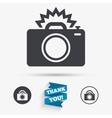 Photo camera sign icon Photo flash symbol vector image