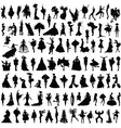 set of female silhouettes vector image