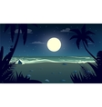 moonlight night at the beach vector image vector image