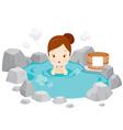 Girl Relaxing In Hot Spring vector image