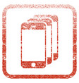 mobile phones framed textured icon vector image