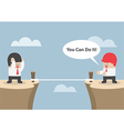 Businessman motivate his friend to cross the cliff vector image