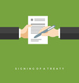 Business man hands holding contract and pen vector image