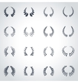 black laurel wreaths icon set vector image