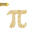 Gold glitter icon of pi isolated on vector image