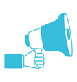 blue color silhouette of hand holding megaphone vector image