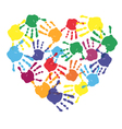 Colorful child hand prints in heart shape vector image