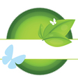 eco label with leaf and butterfly vector image