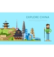 Explore China banner with smiling tourist vector image