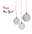 greeting card with christmas balls hand vector image