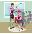 hair stylist in a barber salon vector image