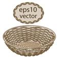 Light brown round wicker basket handmade vector image