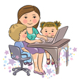 Busy mother works with kids vector image