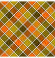 Green orange diagonal check plaid seamless pattern vector image