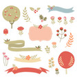 floral fall ribbons and nature vector image vector image
