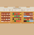 supermarket grocery store with fresh food vector image