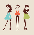 fashion girls posing isolated on light background vector image
