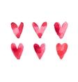 Watercolor aquarelle hand drawn red heart love art vector image vector image