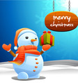 snowman and Christmas sign vector image vector image