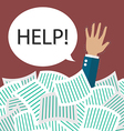 Businessman need help under a lot of documents vector image
