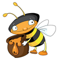 bee with honey vector image vector image