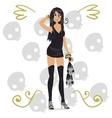 Cartoon funny halloween girl with skulls vector image