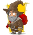 Cartoon old traveler in big hat vector image