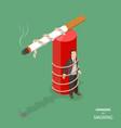 danger of smoking flat isometric concept vector image