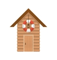 full color with lifeguard stand of wooden vector image