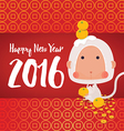 White Monkey 2016 New Year Greeting Card vector image