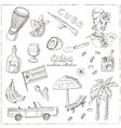Hand drawn doodle Cuba travel set vector image