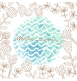 watercolor hand drawn background with sea vector image