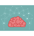 brain with technology connect circle web vector image