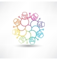 Circle of snowmen vector image