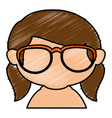 cute little girl shirtless with glasses character vector image