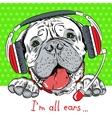 dog Bullmastiff with phone headset vector image
