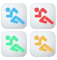 Set of Flat icon with symbol Running men vector image