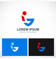 swoosh abstract letter v logo vector image